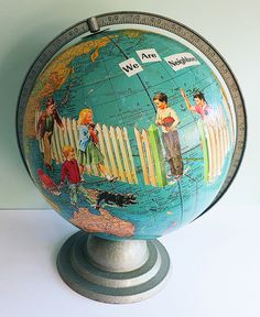 Seems like I'm in a big map kick.  Always seem to be in a big map kick.  Here is a collaged globe...see Jane run!