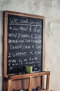 Lavagna menu. Cooking service at the Dimora dei frati