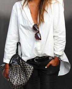 """white + black + goyard """"I love this go to look...Great for everyday or even accessorize for special occasion!""""  bel"""