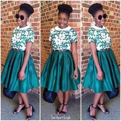 Green is one of my favourite colours & I love me a nice midi skater or A-line skirt. This is a modest dressing essential in any colour and for all body shapes.   #SetApartStyle | #Green | #MidiSkirt | #fashionforchurch | #ModestStylist | #MDE | #ModestDressing