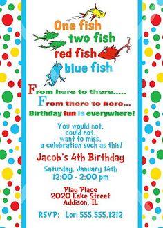 Dr. Seuss,  One Fish Two Fish, Birthday Invitation - PRINTABLE INVITATION DESIGN. $12.00, via Etsy.
