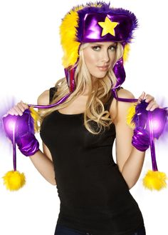 Light Up Faux Fur Glove Purpule Yellow Are Perfect On Any Rave Costume!Shop this now #raveclothing #rave #edm #edc #raveoutfits #gloves