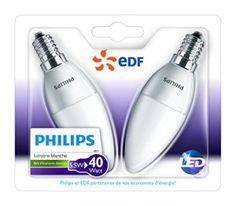 Philips – Lot de 2 Ampoules LED Flamme – Culot E14 (Petite Vis) – 5,5W Consommés – Équivalent 40W – Partenariat Philips/EDF
