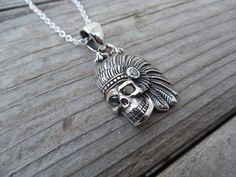 Indian skull necklace with black cs eyes handmade in sterling silver by Billyrebs on Etsy