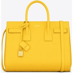 Saint Laurent Classic Small Sac De Jour Bag In Yellow Leather ($2,750) ❤ liked on Polyvore featuring bags, handbags, purses, yellow, yves saint laurent, leather hand bags, genuine leather purse, man bag, leather key ring and handbags purses