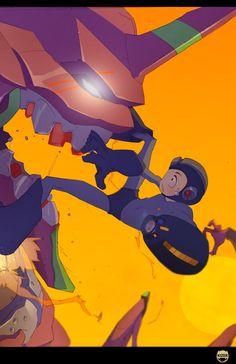 Eva vs Mega Man - Oh damn by *kizer180