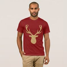 Golden Christmas Reindeer T-Shirt - diy cyo customize create your own personalize