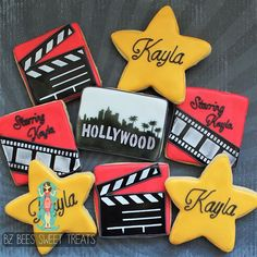Lights, camera, action! Hollywood themed movie star cookies