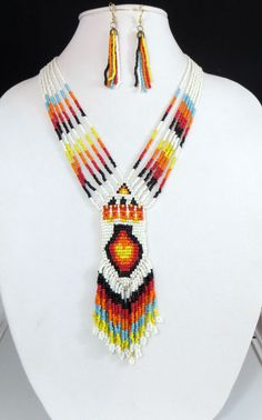 "Cowgirl Bling 26"" Indian Native White  Multi Fringe beaded Gypsy necklace set #Unbranded"
