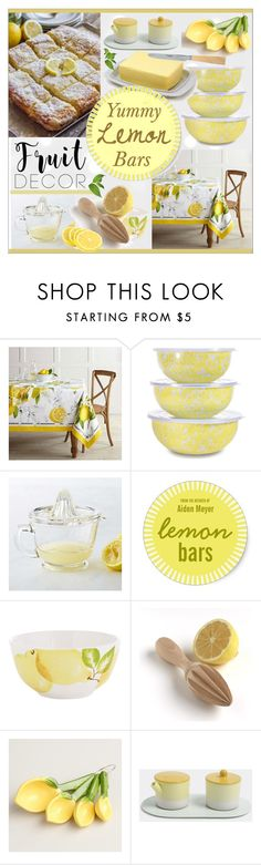"""""""Fruit Decor * Lemon Kitchen"""" by calamity-jane-always ❤ liked on Polyvore featuring interior, interiors, interior design, home, home decor, interior decorating, Williams-Sonoma, Thos. Baker, Pier 1 Imports and Cost Plus World Market"""