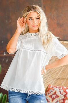 Sophisticated yet comfy, our Iva Pin Tuck Lace Top is a wonderful choice for every woman's closet! From the beautiful lace details on the neck and sleeves to the gorgeous fit, how can you resist? This top tunic is super soft and comfortable! With a semi-loose fit and longer length, it will look great dressed up with a pencil skirt and heels or casual with a pair of destructed overalls, either way, you're sure to love it! Womens Closet, Cute Casual Outfits, Pin Tucks, Loose Fit, Lace Detail, Plus Size Outfits, Love Fashion, Looks Great, Overalls