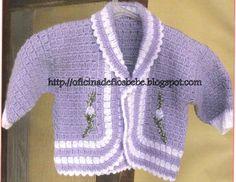 OFICINA DE FIOS BEBE: CASAQUINHO BEBE CROCHE. tem grafico Crochet Blanket Patterns, Baby Knitting Patterns, Baby Patterns, Crochet Baby Sweaters, Bebe Baby, Crochet Needles, Crochet Bebe, Knitting For Kids, Crochet Crafts