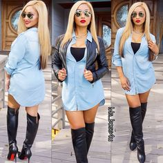 Winter Fashion Outfit Work Attire Blue Oversizes Shirt Leather Biker Jacket Knee High Leather Louboutin Boots Shades Swag Style Trend Stylish Fashionista MsBoss4U