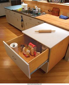 A baking station that rolls out only when needed