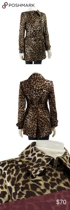 Michael Kors Leopard Print Trench Coat Add a layer of chic style with this leopard print trench coat from Michael Kors Double-breasted outerwear features removable lining Women's coat is a trendy way to stay warm and dry in cool weather Two side pockets with faux flap closure Strap and buckle detail on cuffs. I cant find the belt. MICHAEL Michael Kors Jackets & Coats Trench Coats