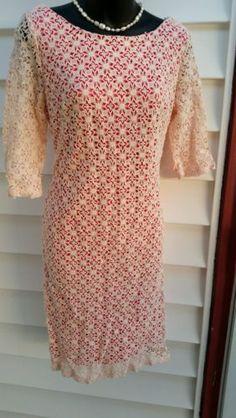 Ivy-Blu-Maggy-Boutique-3-4-Sleeve-Crochet-Lace-Sheath-Dress-Pink-sz-10