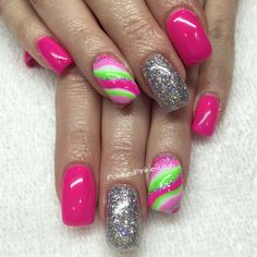 PolishedPinkiesUtah bright neon nails for spring or summer. Gel nails shellac gel polish. Glitter nails for fun. Would be cute on long or short nails!