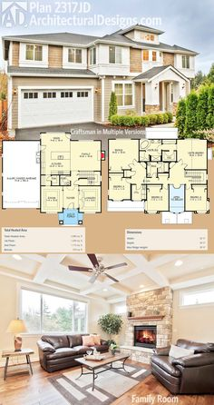 Architectural Designs Craftsman House Plan 2317JD has an open floor plan on the main floor and 4 beds upstairs including a vaulted master suite. Over 2,900 square feet of heated living space. Ready when you are. Where do YOU want to build?