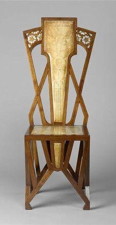 Art Nouveau A. De Vecchi chair - c. 1904 - Mahogany, exotic, wood, painting, oil…