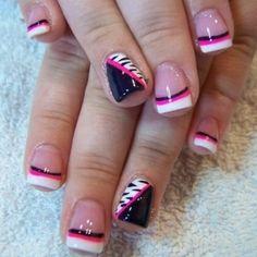 Zebra Pink Black White French Nails Tip Nail Designs Cute
