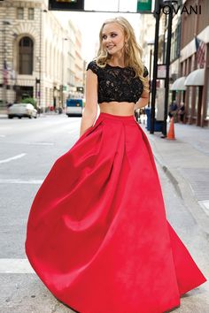 Jovani Two-Piece Ballgown 22897. Seriously cute two piece in black and red (deep hot pink really). PRE ORDER for prom 2015!