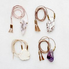 Opal, magnesite and amethyst necklaces
