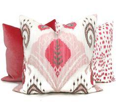 Pink Ikat Decorative Pillow Cover 18x18, 20x20 or 22x22 Eurosham or Lumbar Pillow, Throw, Accent Pillow