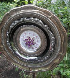 Mosaic Silver Tray Garden Flower by PinkPicketCottage on Etsy