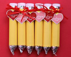 These valentines look just like pencils – but they are really easily made from Lifesaver candy rolls and Hershey kisses covered with some cardstock or paper.