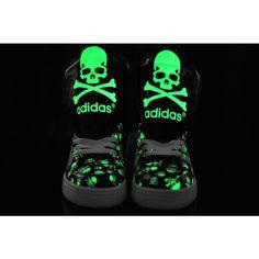 Resplandor en la oscuridad adidas Originals Calaveras Big lengua zapatos blanco