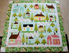 Swiss Village by Carolina Moore (from Fab Shop Hop website) House Quilt Patterns, House Quilt Block, Quilt Blocks, Mini Quilts, Baby Quilts, Patriotic Quilts, Quilting Projects, Quilting Ideas, Applique Quilts