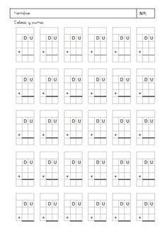 Plantilla para cuentas de sumar y restar de 2 dígitos