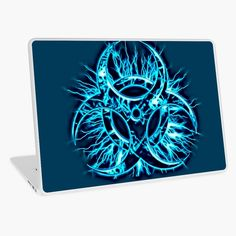 """""""Biohazard warning, bio waste sign, symbol, blue"""" Laptop Skin by cool-shirts 