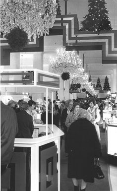 Higbee Co., interior during Christmas shopping