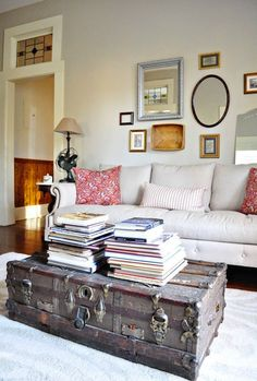 Use a trunk as a coffee table for your living room.