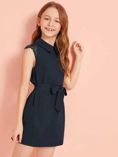 SheIn / Girls Solid Lace Insert Keyhole Back Belted Dress Girls Fashion Clothes, Tween Fashion, Girl Fashion, Girl Outfits, Fashion Outfits, Little Girl Dresses, Girls Dresses, Elegant Dresses, Nice Dresses
