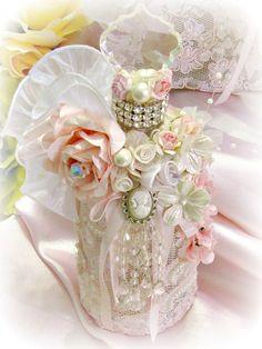 Image 3 of Regency Elegance Pink Beaded Apothecary Potion Bottle Shabby Chic Crafts, Vintage Shabby Chic, Shabby Chic Decor, Glamour Decor, Glass Bottle Crafts, Bottle Art, Victorian Crafts, Shabby Chic Zimmer, Bottles And Jars