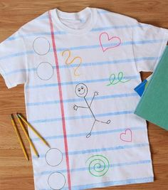 Your kids will have a blast making this Classroom Doodles T-Shirt because they get to decorate their own T-shirt with really cool designs. Making DIY T-shirts are always a blast, but when you add a back to school twist to it. Fabric Spray Paint, Fabric Painting, Fabric Art, Ac Moore, California Shirt, Diy Craft Projects, Craft Ideas, Kids Crafts, Art Crafts