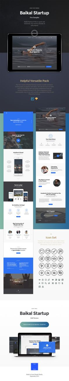 Today's specia is Baikal Startup Versatile FREE UI Kit. The package includes 2 pages on popular web topics you can customize and adapt to your needs. It's also includes a small set of free icons that come in various formats and 3 sizes. You can use this freebie to create a classy landing page for a brand or startup with ease.