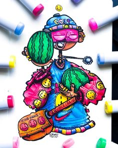 Just finished this crazy character rocking some oversized shoes and a crazy voice crack gang hoodie lol 🥑 I drew this on the big Cute Doodle Art, Doodle Art Designs, Doodle Art Drawing, Cute Doodles, Art Drawings, Doodle Characters, Graffiti Characters, Watermelon Art, Watermelon Carving