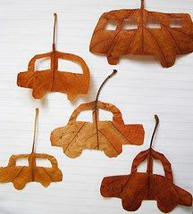 Cortar siluetas de hojas. Coches, barcos....cutting shapes out of leaves - cars , boats , little houses ...