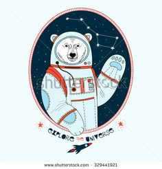 polar bear astronaut in outer space , kid illustration, textile design, art print - stock vector