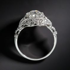 1.38 Carat Platinum and Diamond Edwardian Engagement Ring