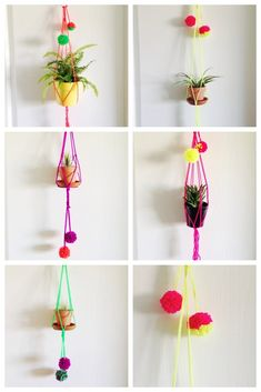 "Hang your plants in my neon macrame plant hangers and it will brighten up their day :) You can choose from 5 bright colors. Made with acrylic yarn.Choose from 2 sizes- Small-Can hold up to a 4"" potLarge-Can hold up to a 6""potEach hanger has a silver ring for hanging.Comes with 2 pom-pom's which may differ with each order.This listing is for the hanger only."
