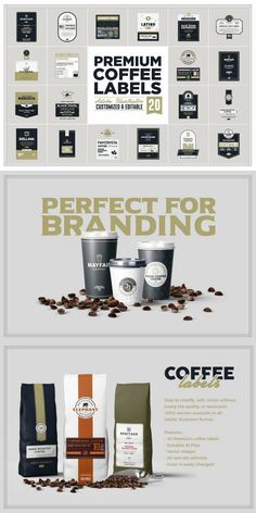 Premium coffee labels is another label template series from Rich Graphic. Still created on vector basis. It's really easy to modify, re-size without losing the quality or resolution. #AffiliateLink Coffee Labels, Premium Coffee, Label Templates, Vector Shapes, Logo Design Template, Branding, Easy, Brand Management, Identity Branding