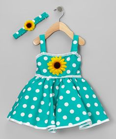 Take a look at this Green Polka Dot Sunflower Dress & Headband - Infant & Toddler by Shanil on #zulily today!