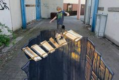 3D street art, extremely interactive (great, amazing, beautiful, cool, interesting, creative)
