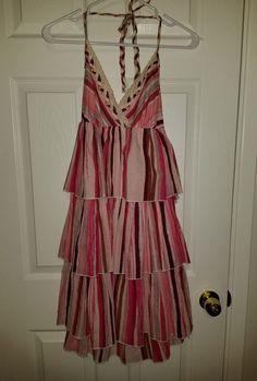 VS Womens Moda International Sz M Prairie Halter Dress Maxi Tiered Ruffle Boho  #ModaInternational #PrairieMaxiTiered #Casual