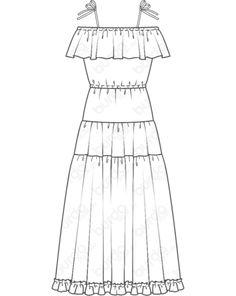 Schnittmuster Rüschenkleid 07/2014 #120 Flat Sketches, Dress Sketches, Fashion Flats, Fashion Art, Drawing Fashion, Illustration Mode, Design Illustrations, Fashion Design Portfolio, Dress Drawing