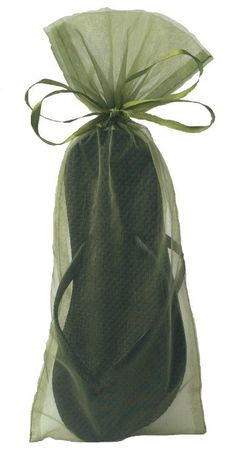 f15ec97ad Classic Black Flip Flop with Moss Green Organza Bag